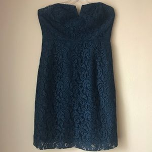 J.Crew strapless lace dress in navy blue.
